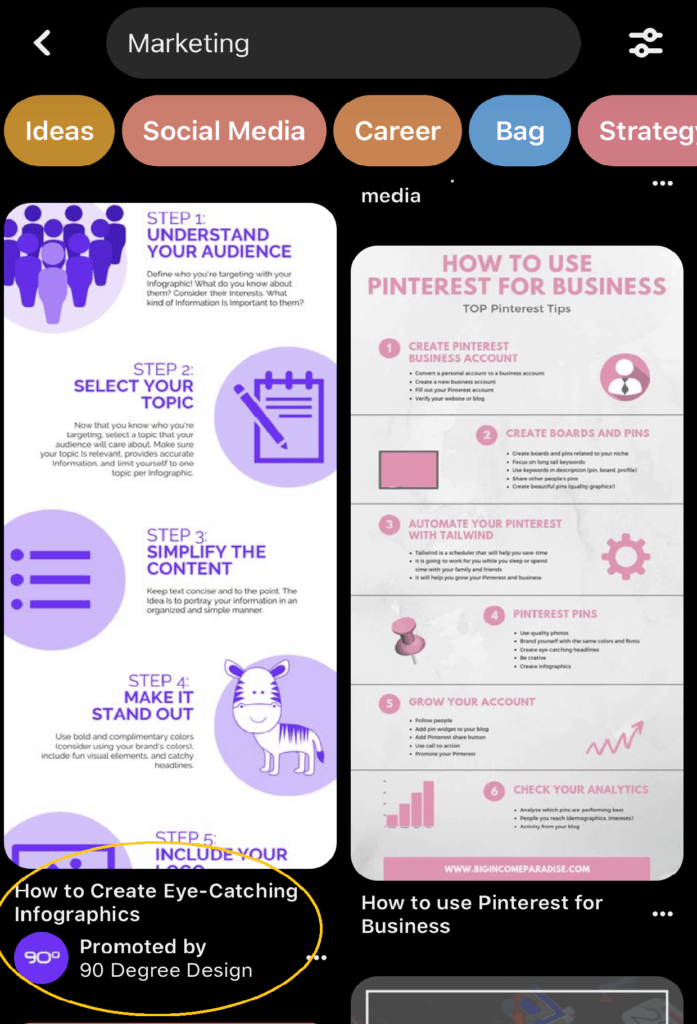 example of a pinterest ad that links to a landing page