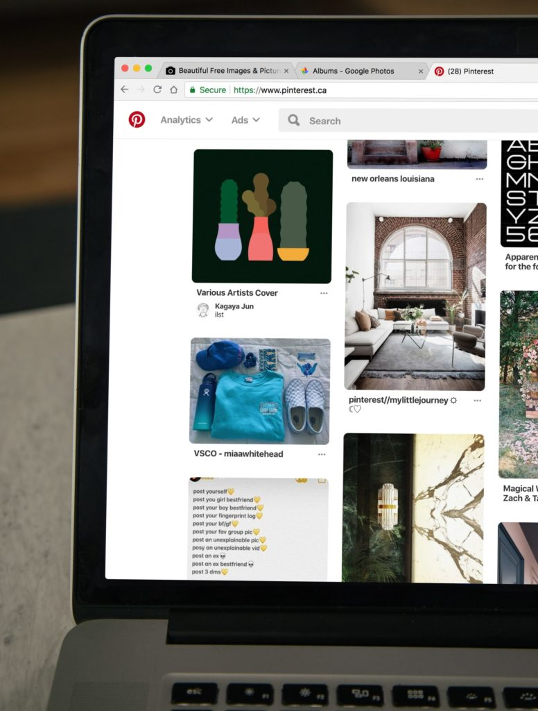 rows of pinterest images on the pinterest website