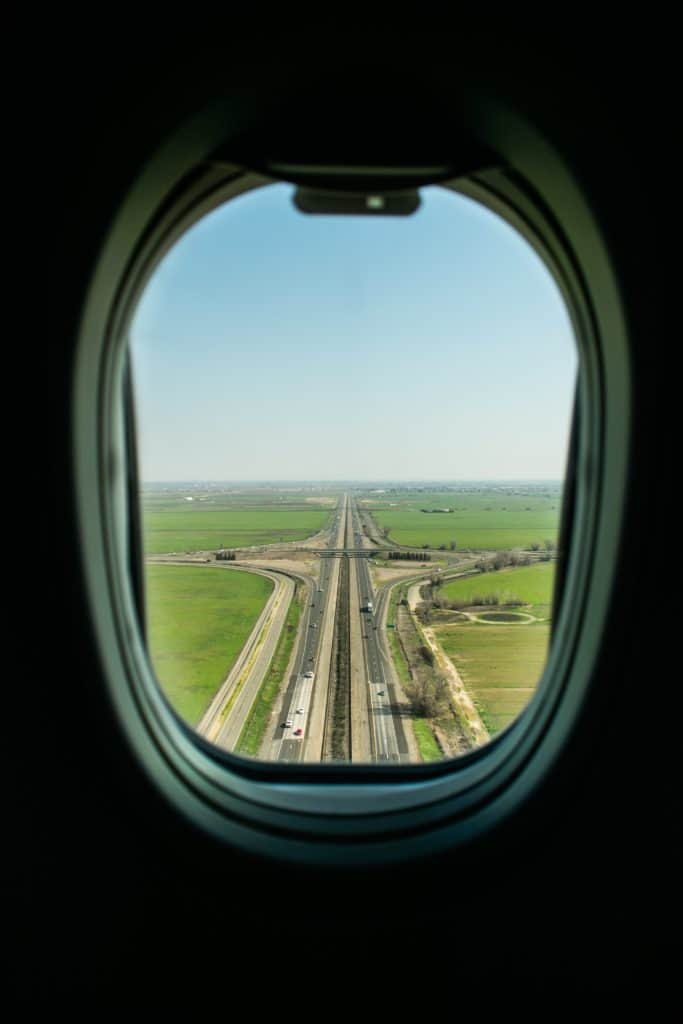 view from out a window on an airplane still on ground level